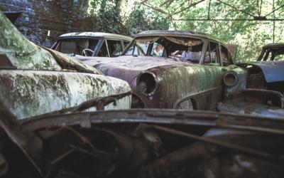 Urbex dans un cimetière de voitures en pleine forêt